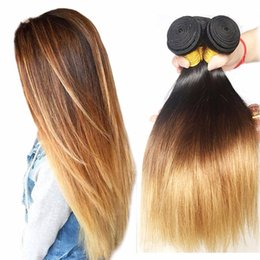 Discount 24 inch straight malaysian hair - 8A Malaysain Ombre Straight Hair Bundles 1-4-27# 3 Tone Color Remy Silky Straight Human Hair Weave Bundles Free Shipping