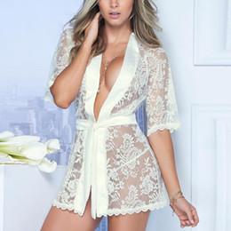 Wholesale Gowns For Women NZ - Fashion Women Girl Sexy Dressing Gown Babydoll Lace Lingerie Bath Robe Nightwear summer tops for women 2018 underwear