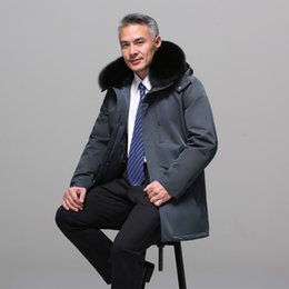 d785b15e5614 Asesmay new white duck down jacket goose feather coats fox fur hood parkas  mens thick warm smart casual long wellensteyn jackets