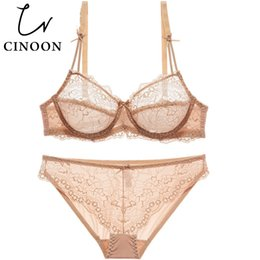 b2634c3785 wholesale Sexy lingerie thin cup Bra Set plus size Lace brassiere  Transparent underwear Push up intimate women panty sets