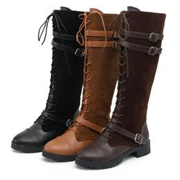 6255fe8fff Diseño de invierno de las mujeres de la correa del dedo del pie redondo con  cordones largo vendaje botas de montar zapatos de señora tamaño 35-43 Sexy  ...