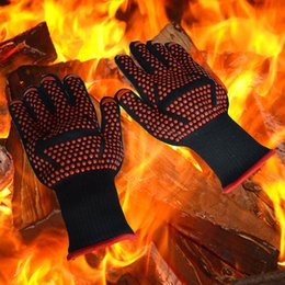 HigH Heat resistant oven mitts online shopping - new arrive Oven Mitts Gloves high Centigrade Instant Extreme Heat Resistant BBQ Gloves Lining Cotton Cooking Baking Grilling Oven Mitts