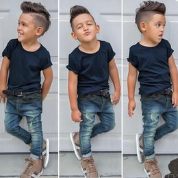a6186cc8 2018 Summer Fashion Boys Set Solid Short Sleeve T Shirts + Denim Pants  Children 2 pieces Sets Baby Jeans Outfits