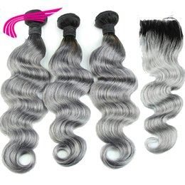 Discount 1b grey hair weave - LIN MAN 1B Grey Ombre Body Wave Human hair Bundles with Closure Remy Hair Brazilian Hair Weave Lace Closure Healthy End