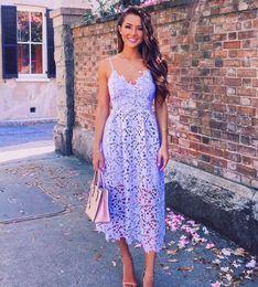 White Mid Length Evening Dresses Canada - Real Image Summer Women Bohemian Dress Lace Fashion Party Dress With Mid Calf Length Spaghetti v Neck Sleeveless Elegant Women Evening Dress