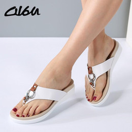 ff18f3176cee O16U Sandals Women wedge Shoes Slip on Leather platform sandals Ladies heel slides  female Slipper sandals summer shoes 2018