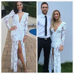 $enCountryForm.capitalKeyWord Australia - 2018 New Arrival Lace Applique Deep V-neck Guest Dress Evening Dress Elegant Long Sleeve Split African Gril Mermaid Party Prom Dress