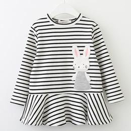 $enCountryForm.capitalKeyWord Canada - cute girl striped dress cartoon rabbit decoration nylon cotton dress for 2-8years girls kids children striped outerwear dress