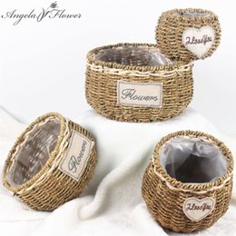 bamboo vases 2018 - Simulation flower basket handmade crafts bamboo willow fields gardens style ornaments home storage basket vase home tabl