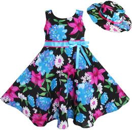 $enCountryForm.capitalKeyWord UK - Sunny Fashion 2 Pecs Girls Dress Hat Blue Flower Summer Beach Party Dancing Kids Cotton 2016 Summer Princess Wedding Size 4-12