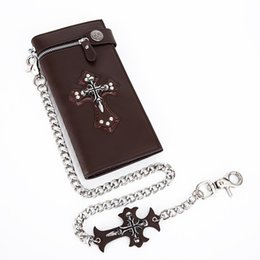vintage crucifixes 2019 - European and American men's Punk purse with Chain Rock Skull Cross retro clip Wallets with crucifix design walletfo
