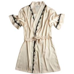 b2402d8d62 Wholesale- Short-sleeve sexy women s plus size M L XL bathrobes summer  style satin silk nightwear robes female waistband sleepwear