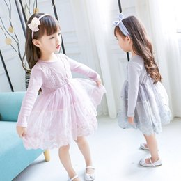long puffed sleeve dress NZ - New Girls Long Sleeve Dresses Fall Fashion Lace V Collar Splice Princess Puff Dress Party Gift Pink Is Immortal