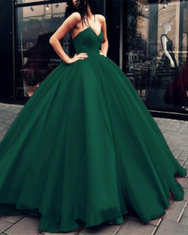 $enCountryForm.capitalKeyWord NZ - Dark Green Stylish V Neck Ball Gown Prom Dress Sexy Evening Gowns Tulle Quinceanera Dresses Custom Made
