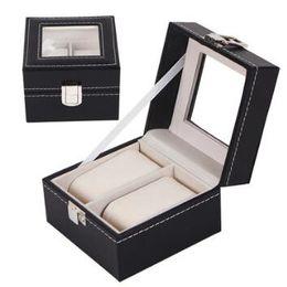 Watch gift boxes display online shopping - 11 cm Grid Black PU Wooden Wrist Watch Display Box Jewelry Storage Holder Organizer Case with Window Gift Wrap CCA10568