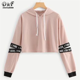 910699ff4f5 Dotfashion Pink Letter Drawstring Hoodie Cut Out Sleeve Crop Sweatshirt  Women Casual Autumn Clothing Hooded Long Sleeve Pullover