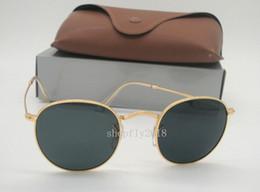 Sun Glasses Black NZ - Drop Free Shipping Mens Womens Round Sunglasses Metal Sun Glasses Retro Eyewear Gold Black 50mm Glass Lenses With Brown Case