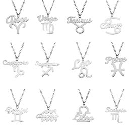 zodiac pendants women 2019 - Zodiac Pendant Necklaces 12 Constellation Sign Symbol Stainless Steel Jewelry Women Charm Girls Gift Necklace Wholesale
