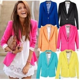 $enCountryForm.capitalKeyWord NZ - New Blazer Women Suit Blazer Foldable Jacket Lining Vogue Blazer Candy Color One Button Long Sleeve Jackets Hot Sell