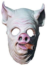 Pig Face Masks Australia - MostaShow Smoking Pig Head Latex Mask Actor's Full Headgear Easter Christmas Halloween Costumes Cosplay