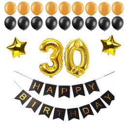 $enCountryForm.capitalKeyWord Australia - Letter 40 50 60 30 Years Old Happy Birthday Paper Bunting Banner Number Foil Latex Balloons Birthday Party Decoration Supplies Black