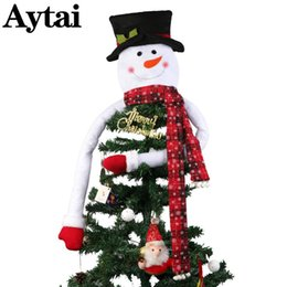 China wholesale Lovely Snowman Christmas Tree Topper Xmas Decor With Hat Snowflake Scarf New Year Christmas Decoration For Home Store cheap christmas decor stores suppliers
