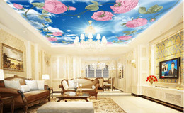 White 3d Rose Fabric Australia - photo wallpaper Realistic rose blue sky white living room ceiling murals 3d ceiling Murals wallpaper