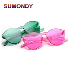 82f77dbae714 Sunglasses Names Canada - SUMONDY Vintage Ultrathin Transparent Candy-color Sunglasses  Women Name Brand Designer