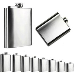 Wholesale Portable Hip Flask Stainless Steel Pocket Alcohol Whiskey Liquor Screw Cap Men Gift Outdoor Drinkware Size oz to oz