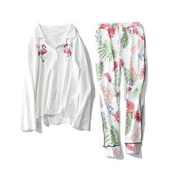 Cotton Print Material NZ - New women pijama sets flamingo flowers leaves printed high quality cotton material elegant sweet pajamas for ladies