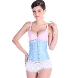 $enCountryForm.capitalKeyWord Canada - Blue Satin Waist Training Corset Buskfront with Double Spiral & Flat Steel Boning Sizes S,M,L,XL,XXL Slim Burlesque Bustier Corsets 2833TLG