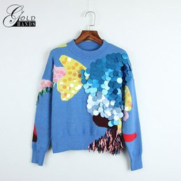 Sequin Short Sleeve Sweater online shopping - Spring Fashion Women Sweaters Full Sleeve O Neck Sequined Blue Pullovers Computer Knitted Pageant Women Short Sweaters Tops