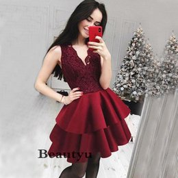 Short Red Lace Prom Vintage Dress Australia - Sexy Burgundy Short 2018 Prom Dresses Vintage Lace Tiered Skirts A Line V Neck Cheap Homecoming Cocktail Party Dress Plus Size Formal Gowns