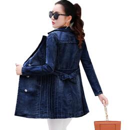 Double Xl Size Jeans NZ - Plus Size Long Denim Jacket Women 2018 New Autumn Vintage Cotton Jeans Jacket Fashion Turn-down Collar Long Sleeve Basic Coats