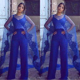 $enCountryForm.capitalKeyWord NZ - 2018 Royal Blue Lace Floor Length Formal wears Suit With Jumpsuits Evening Dresses With Wrap Prom Gowns Custom