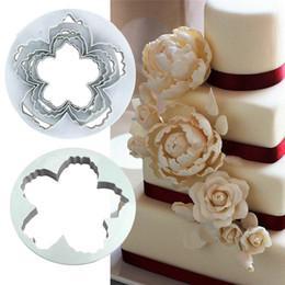 Peony Cutters Australia - 4Pcs Set Peony Flower Petal Shape Cutter Fondant Cake Sugar Paste Icing Cutting Tool Baking Accessories