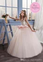 $enCountryForm.capitalKeyWord Canada - Blush Pink Ball Gown Flower Girl Dresses for Wedding Jewel Neck Ruffles Beading Floor Length 2018 Long Child Birthday Party Communion Dress