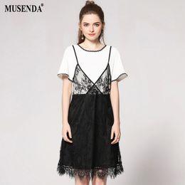 $enCountryForm.capitalKeyWord NZ - MUSENDA Plus Size Women White Black Patchwork Lace Tunic Dress 2018 Summer Sundress Female Dresses Vestido Robe Clothing Suits