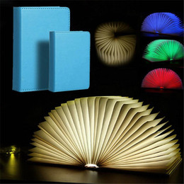 Portable Bedside Table Australia - Creative Foldable Pages Led Book Lights Four Color Night Lights Portable Decorative Bedside Table Lamps Usb Rechargeable (Small Large Size)