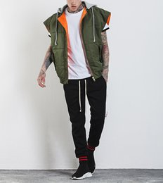 Wholesale spring pure color fake two hooded loose cotton flight vest coat sleeveless bomber Jacket men