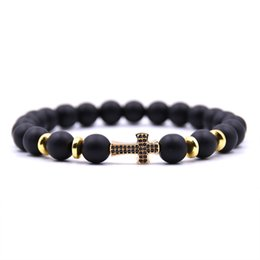 $enCountryForm.capitalKeyWord UK - HONEYYIYI Micro Pave CZ Cross Charms Bracelet Men 8mm Matte Stone beads Bracelets for women Men Jewelry pulseras