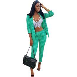 $enCountryForm.capitalKeyWord UK - Women Pants Suits OL Work 2 Piece Set 2018 Autumn New Fashion Casual Slim Striped Blazer + Long Trousers Suit New Hot