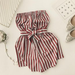 Wholesale tube top rompers resale online – 2018 new fashion Jumpsuits women s jumpsuit sexy tube top Striped high waist tie wide leg shorts women rompers
