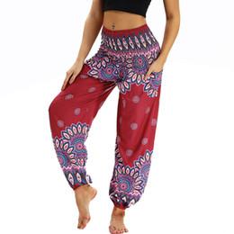 low waist yoga pants 2018 - Vertvie Vintage Ethnic Printed Yoga Women Pants 2018 Wide Leg Pants Loose Straight Trousers Low Waist Yoga Pant Pilates