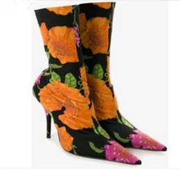 dark blue satin heels UK - Floral Sexy Stiletto Sock Women Booties Stretch Boots women Celeb High Heels Pointed Toe Ankle Boots Fashion Botas Mujer Shoes Women