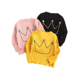 baby girls tops designs UK - New 2018 Kids Clothing Long Sleeve Cotton Bottoming T-shirt Crown Design Baby Girls Clothes Hot Sales Kids Foreign Trade Tops