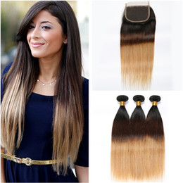 front lace closure ombre weaves Canada - #1B 4 27 Dark Root Brown Honey Blonde Ombre Virgin Peruvian Human Hair Weave Bundles with Three Tone Ombre 4x4 Front Lace Closure