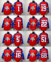Florida Panthers 68 Jaromir Jagr Ice Hockey Jerseys 1 Roberto Luongo 16  Aleksander Barkov 5 Aaron Ekblad Team Color Red Stitching Quality 86470036a