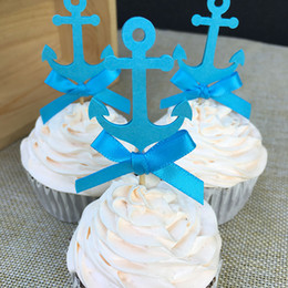 $enCountryForm.capitalKeyWord Australia - Custom Bow & Blue Nautical Anchor Cupcake Toppers Baby Shower Boy's Birthday Party Favors Decoration Cake Decorations Picks