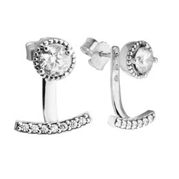 Authentic Flowers Australia - 2018 New Authentic 925 Sterling Silver Abstract Elegance Pave Crystal Stud Earrings For Women Earrings Wedding Party Fine Jewelry